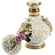 Antique French Old Paris Porcelain Flowers Cologne, Scent Bottle, Decanter, Jacob Petit