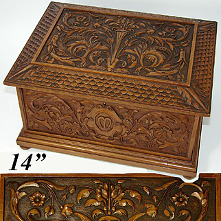 """Superb Antique French Black Forest Style Carved 14"""" Chest, Jewelry, Cashmeres Trousseau"""