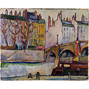 Antique French Impressionist Influenced Oil Painting on Masonite Board Panel, c.1910, Fremont