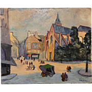 Antique Oil Painting, Paris Street Scene at Dusk, Artist Signed Post-Impressionist, on Panel