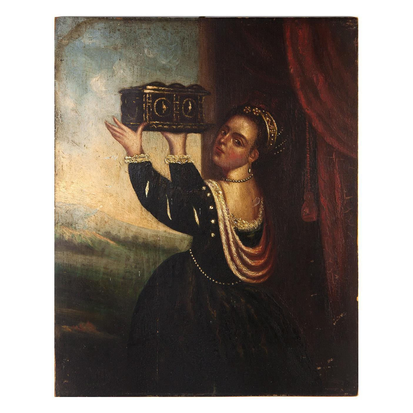 Antique Oil Painting, Renaissance Woman in Tiara, Holding Large Box
