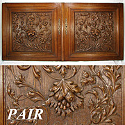 "LG Antique Victorian Era 25"" French Black Forest Style Oak Cabinet or Furniture Door PAIR, Wall Plaques"