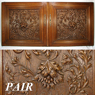 """LG Antique Victorian Era 25"""" French Black Forest Style Oak Cabinet or Furniture Door PAIR, Wall Plaques"""
