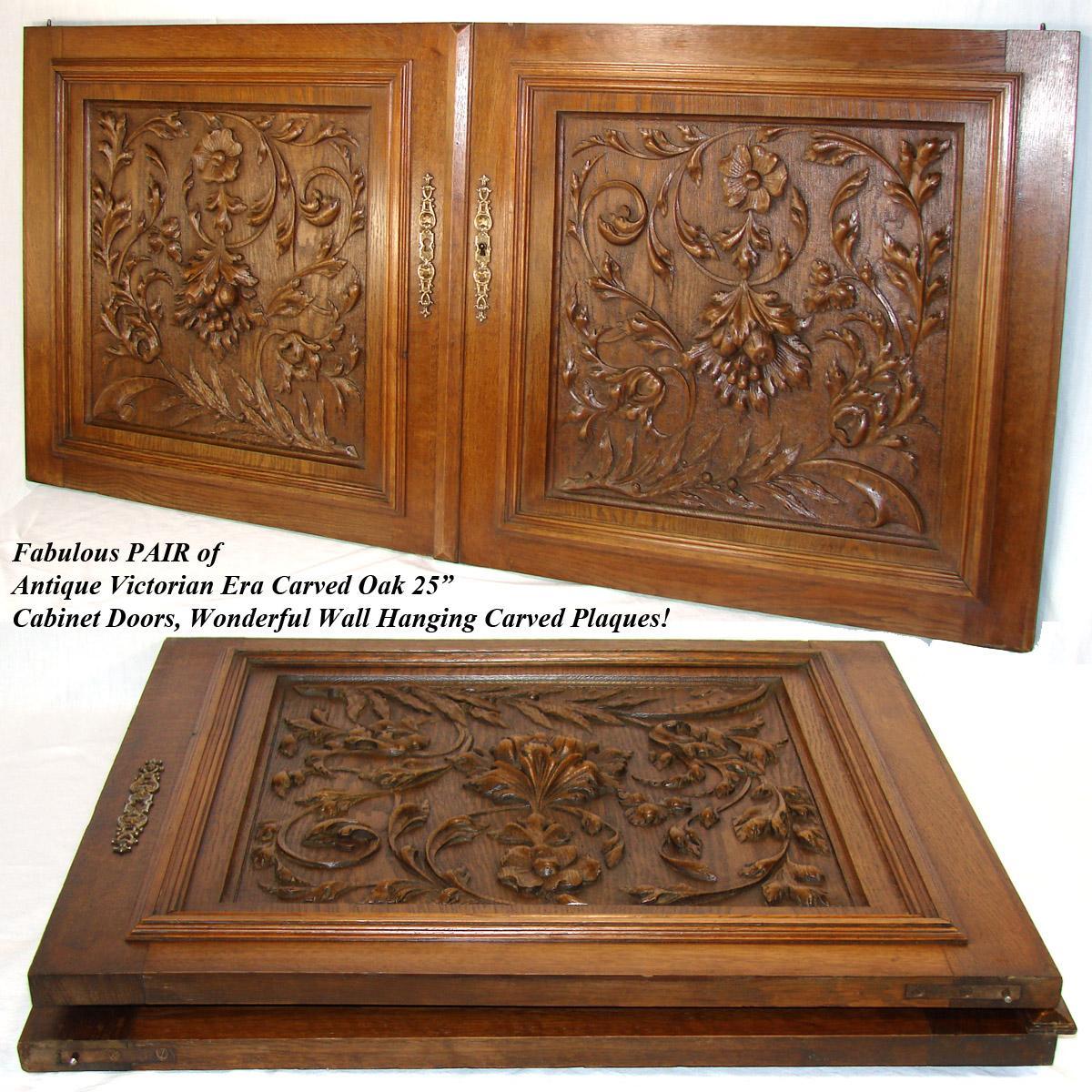 25 antique victorian brack forest style oak cabinet or furniture door
