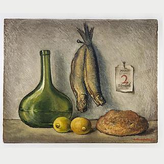 Antique Dutch Oil Painting on Panel, Impressionist Still Life, Kitchen Fish & Bread