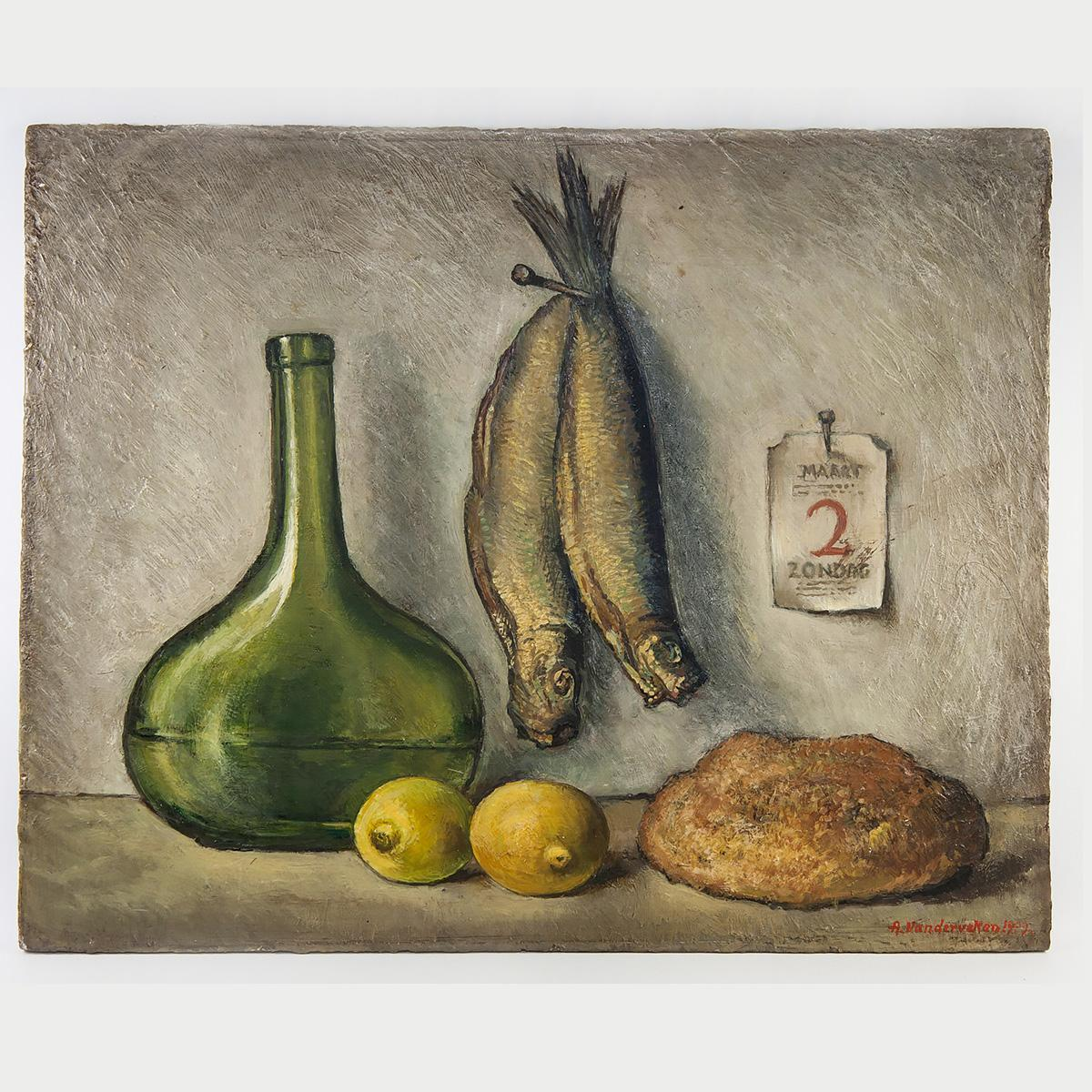 Antique Dutch Oil Painting on Panel, Impressionist Still Life, Kitchen Fish & Bread