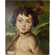 Antique French Oil Painting, Portrait of a Putti or Italian Boy, Oil on Board Panel