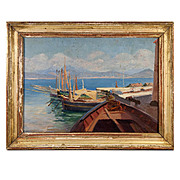 Antique French Oil Painting in Frame, Harbor Boats Landscape, Perfect for Doll's House