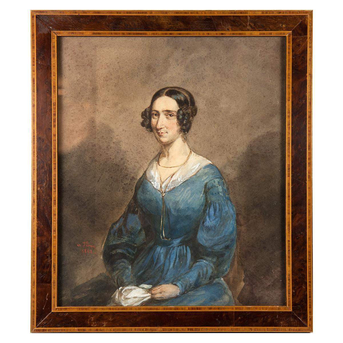 Superb Antique French Aquarelle Portrait, Frame, artist: Ludovic Alfred de Saint-Edme (French, born 1820)