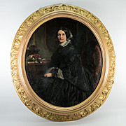 Antique French Oil Painting, Portrait and Interior, Superb Frame, Artist: Eugène Mathieu, 1812