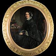 Antique French Oil Painting, Portrait and Interior, Superb Frame, Artist: Eugène Mathieu, 1812