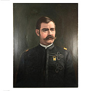 "Antique Oil Painting, Portrait of a Soldier in Uniform c. 1880-1915, no Frame, 27"" x 22"""