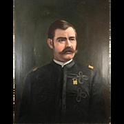 "Antique Oil Painting, Portrait of a Soldier in Uniform c. 1880-1915, no Frame, 27"" x 22"""
