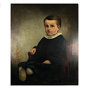 Darling Antique Oil Painting of a Young Boy, Child, 3/4 View in Chair, no Frame