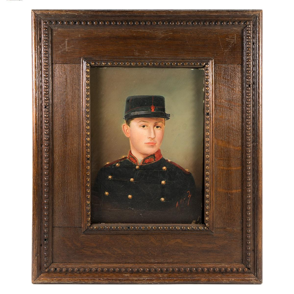 Antique French Oil Painting, Portrait of a Young WWI Soldier, Military, in Frame
