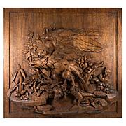 "Antique Black Forest Plaque, Eagle, 18"" x 16.5"" Hand Carved & Gorgeous!"