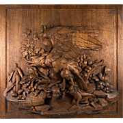 "Antique Black Forest Plaque, Eagle, 18"" x 16.5"" Hand Carved & Gorgeous!"