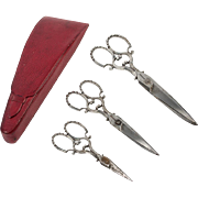 Antique Leather Etui, Case of Set of 3 Sewing Embroidery Scissors, Paragon, c.1830