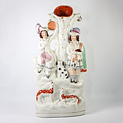 "Antique English Staffordshire Spill Vase, Scottish Man in Kilt, Dog, Sheep & Girl, 14.5"" Tall"