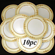 "Rare 10pc Antique 1892 Copeland 10"" Dinner Plate Set, Raised 18k Gold Enamel"
