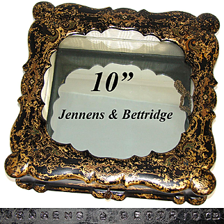 "Antique Jennens & Bettridge 10"" Papier Mache Casket, Box, Glass Topped Vitrine for Jewelry, Micromosaics"