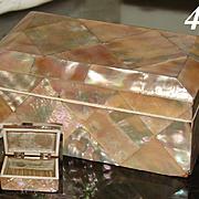"""Antique Victorian Era Abalone or Mother of Pearl Marquetry 4"""" Jewel Casket, Box"""