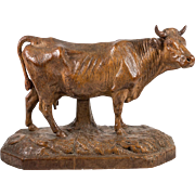 "Antique Black Forest Hand Carved 10"" x 7"" Cow, not Bull, Wood Sculpture, c.1880s"