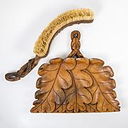 Antique Black Forest Hand Carved Crumb Brush Set, Acorns & Oak Leaf c.1880s