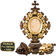 Hand Carved Antique French Holy Font, Done Bronze Floral Frame, TAHAN of Paris, c.1860s