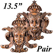 """RARE Pair, Stunning French Hand Carved Wood 13.5"""" Wall Plaques, Figural. 19th c."""
