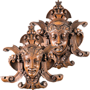 "RARE Pair, Stunning French Hand Carved Wood 13.5"" Wall Plaques, Figural. 19th c."