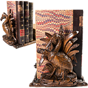 Antique Black Forest Hand Carved Sliding Book Rack with Crane & Fish c.1880s