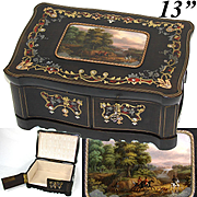 "Gorgeous Antique French Boulle Inlay 12.75"" Jewelry or Desk Box, Eglomise Fox Hunt Scene, Horses, Hunters & Hounds!"