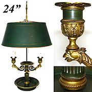 Antique French Bouillotte Candle Lamp, 2nd Empire Period 3-Branch with Tole Shade, c.1880