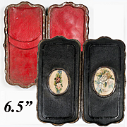 Antique French Cigar Case, 6.5 » Leather with Embroidery Insets, Napoleon III Era Etui