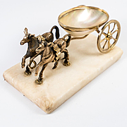 Antique French Napoleon III Era Palais Royal 2 Horse Figural Open Salt Caddy, Mother of Pearl