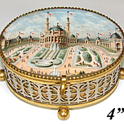 Antique to Vint. French Eglomise Style Souvenir Jewelry Casket, Brass & White Metal: Le Palais de L'Electricite at the Chateau d'Eau