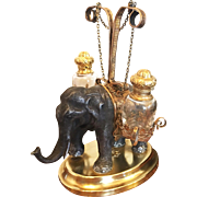 Antique French Napoleon III Era Palais Royal Elephant Figural Scent Caddy,  Stand