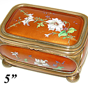 Unique Antique French Kiln-fired Enamel & Bronze Jewelry Casket, Hand Painted Floral Decoration