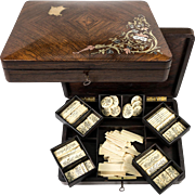 Stunning Antique French Game Box, Chest for Card & Gambling, Complete with Gold Foil Chips, c.1850