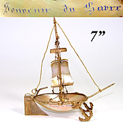 Antique French Mother of Pearl Shell Sail Boat or Tall Ship, Trinket Dish: Souvenir of Havre