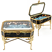 Superb Miniature French Vitrine Table is a Jewelry Casket, Box, RARE for Doll Collector Decor