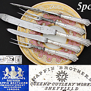 """Fab Antique Mappin Brothers Marked 5pc Sterling Silver Meat Carving Set, Original Box: """"Queen's Cutlery Works, Sheffield"""""""