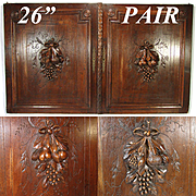"PAIR Antique Victorian 26x22"" Carved Wood Architectural Furniture Doors, Panels, Fruit & Foliage"