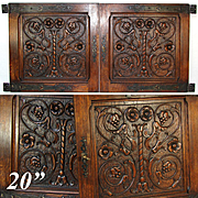 "PAIR Antique Victorian 20x20"" Carved Wood Architectural Furniture Door Panels, Gothic Style Hinges"