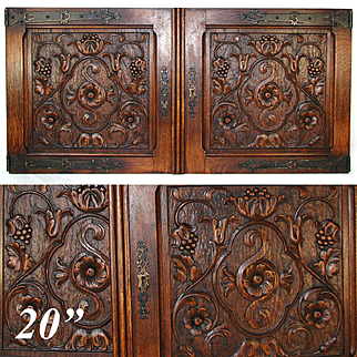 """PAIR Antique Victorian 20x22"""" Carved Wood Architectural Furniture Door Panels, Gothic Style Hinges"""