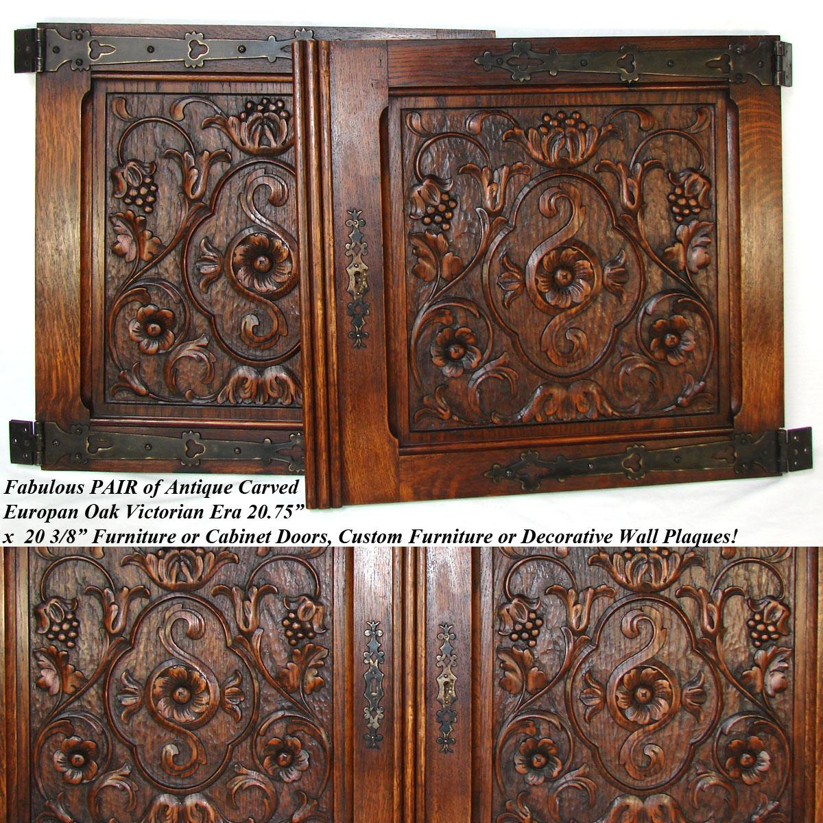 Pair Antique Victorian 22 Carved Architectural Furniture Door