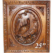 """Black Forest Style Carved Antique 25"""" Cabinet Door, Plaque, Figural Hunt Theme Game Hen & Foliage"""