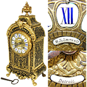 "Antique French 12.5"" Boulle Mantel Clock, Enamel Dial, Figural Gilt Ormolu: Made for M.S. Smith & Co. Detroit"