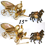 "RARE Antique French Palais Royal 15"" Long 2-Horse Pulled Carriage, Gilt Bronze & Mother of Pearl"